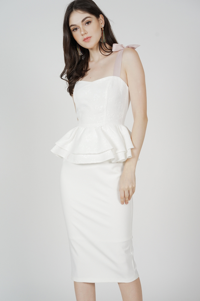 Zabi Peplum Dress in White