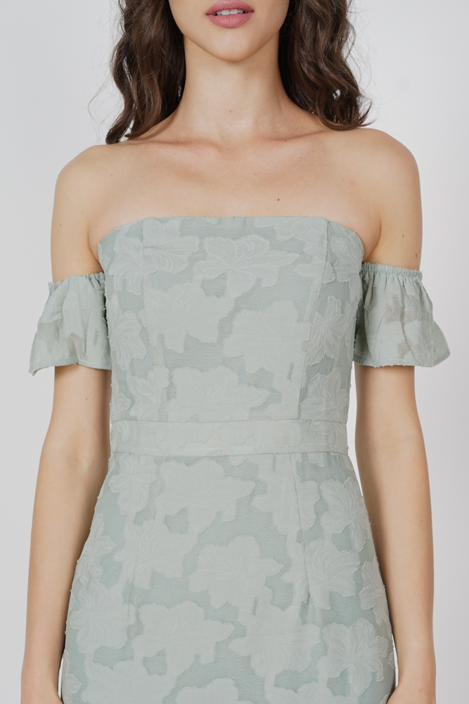 Ellis Ruffled-Hem Dress in Mint