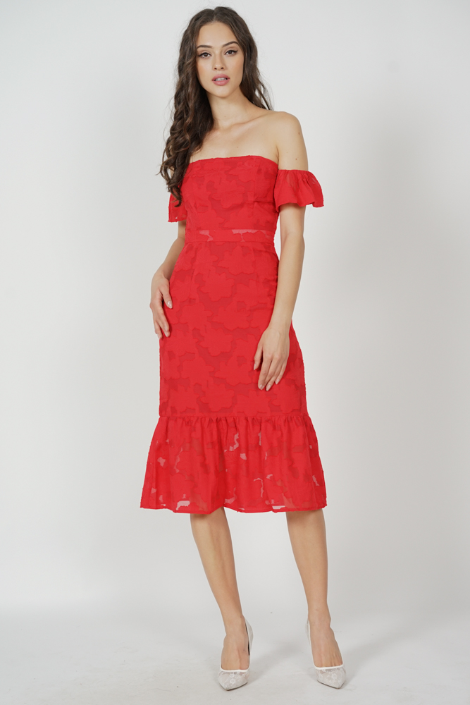 Ellis Ruffled-Hem Dress in Red