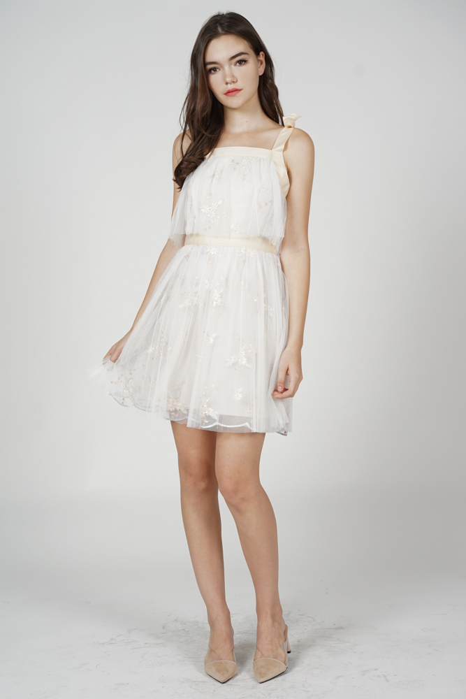 Fibbie Overlay Dress in White