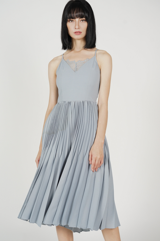 Drevis Pleated Jumpsuit in Ash Blue