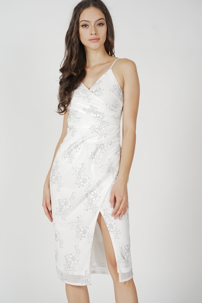 Ediel Cami Drape Dress in White