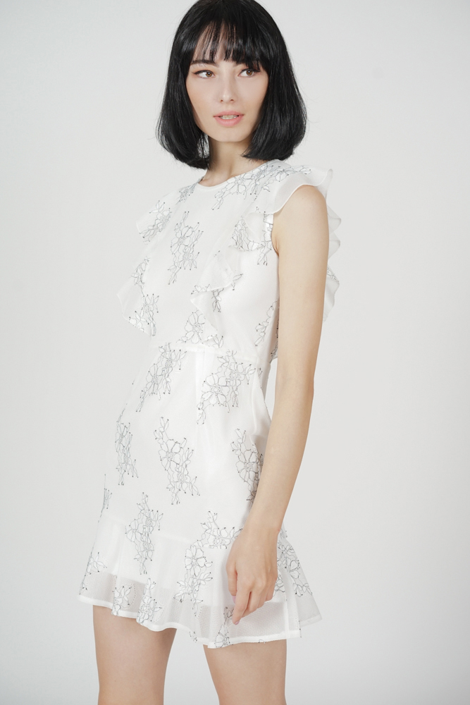 Poppie Ruffled Dress in White - Arriving Soon