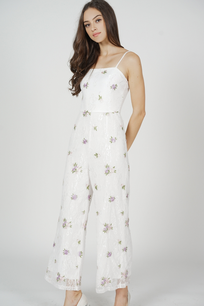 Opal Cami Jumpsuit in White Floral