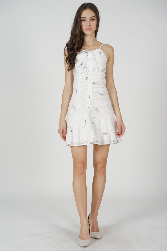 Lona Gathered Front Dress in White - Arriving Soon
