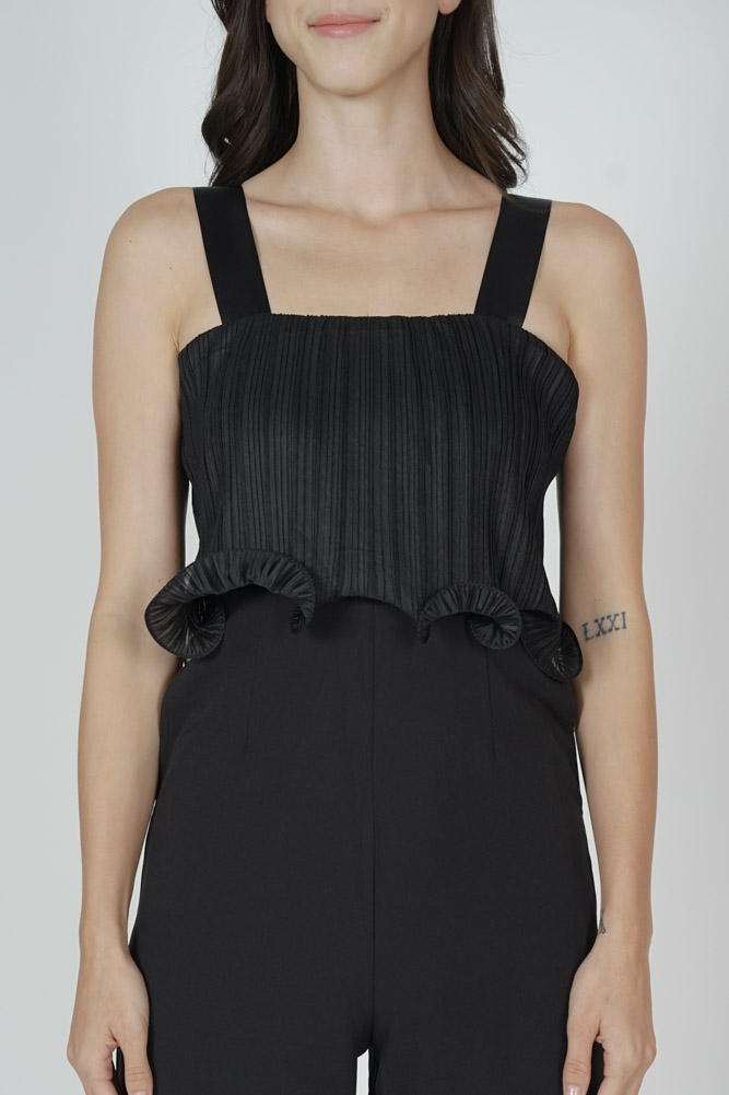 Amber Pleated Overlay Jumpsuit in Black