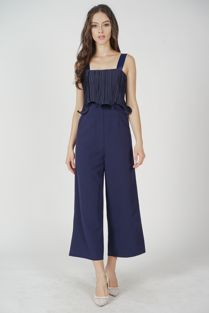 Amber Pleated Overlay Jumpsuit in Midnight - Arriving Soon