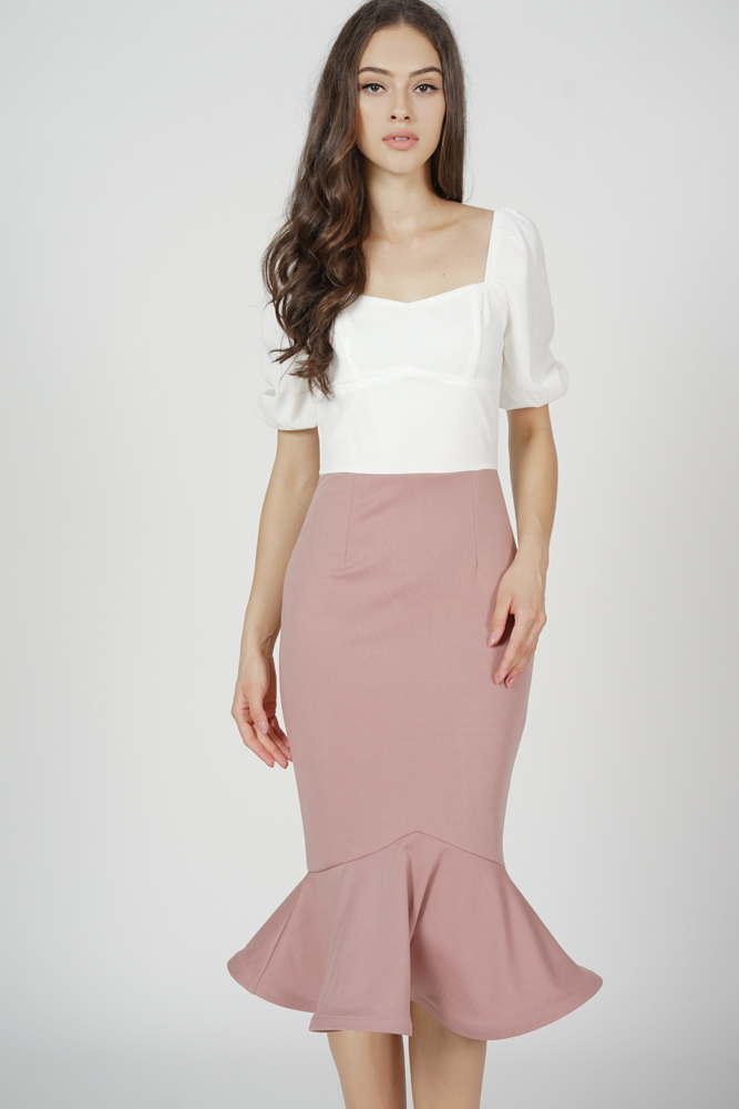 Valeria Flounce Mermaid Dress in Pink - Arriving Soon