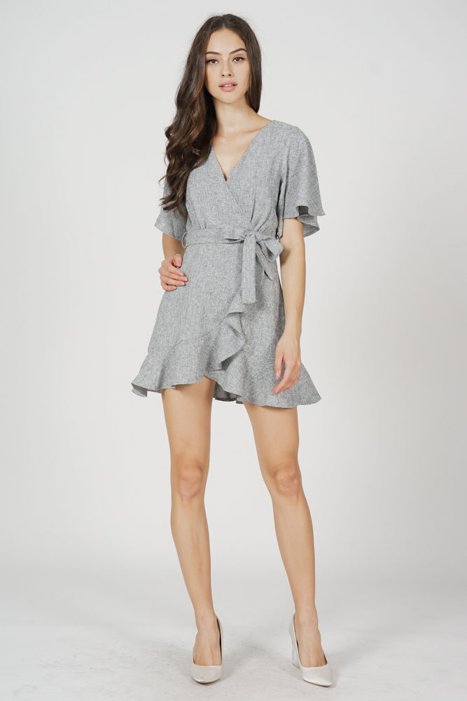 Asher Flutter Ruffled Dress in Grey