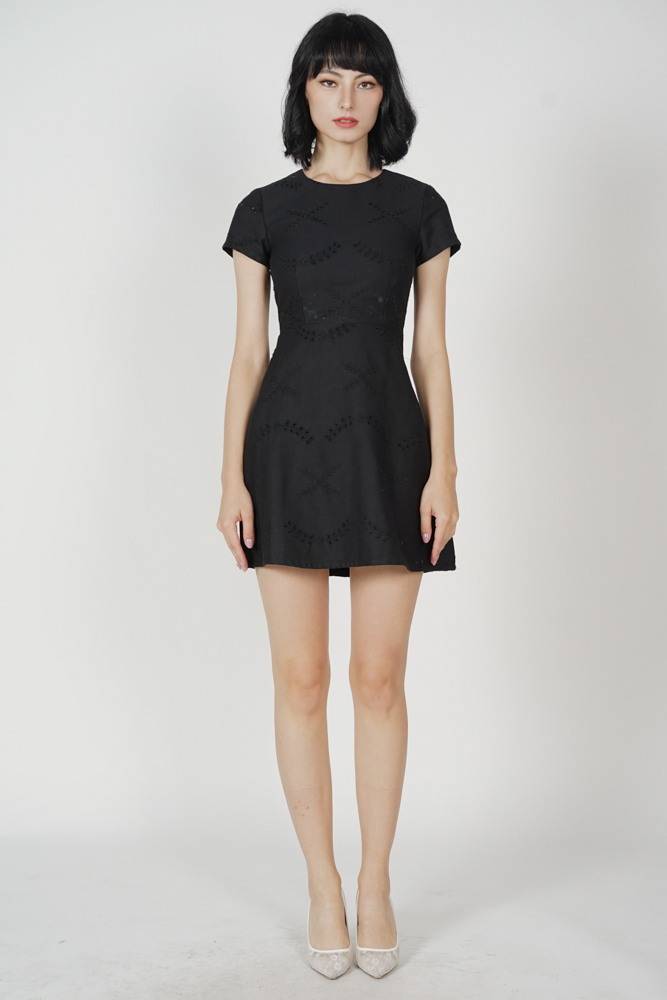 Nicola Eyelet Dress in Black