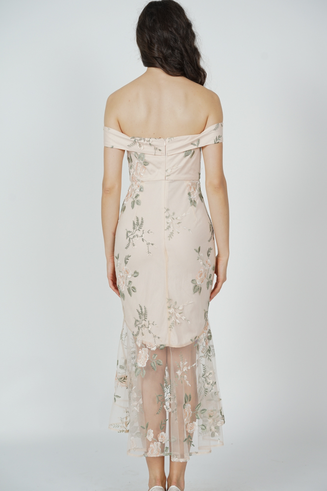 Rubia Mesh Dress in Nude Floral