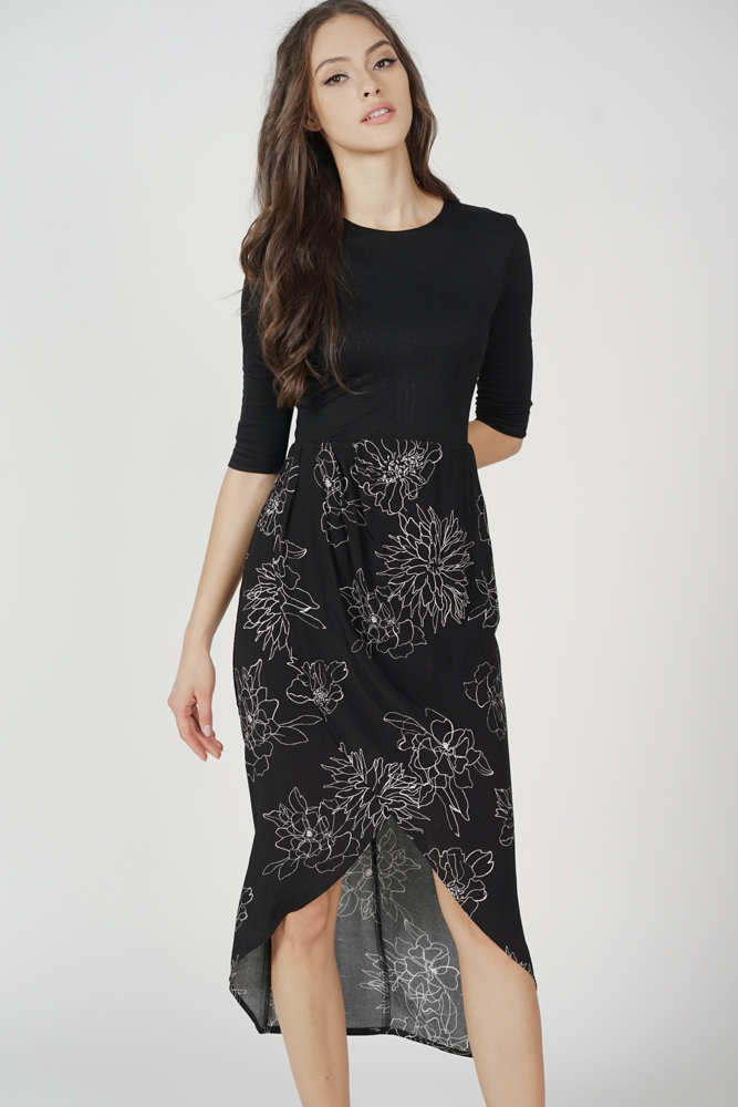 Bima Sleeved Dress in Black - Arriving Soon