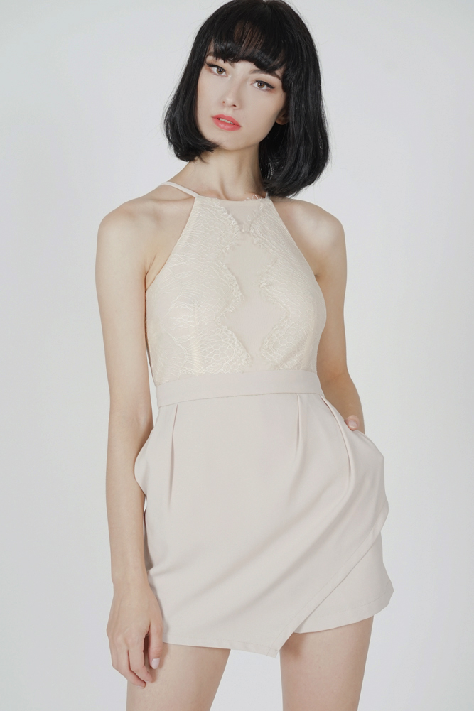 Kevri Lace-Trimmed Romper in Cream - Arriving Soon