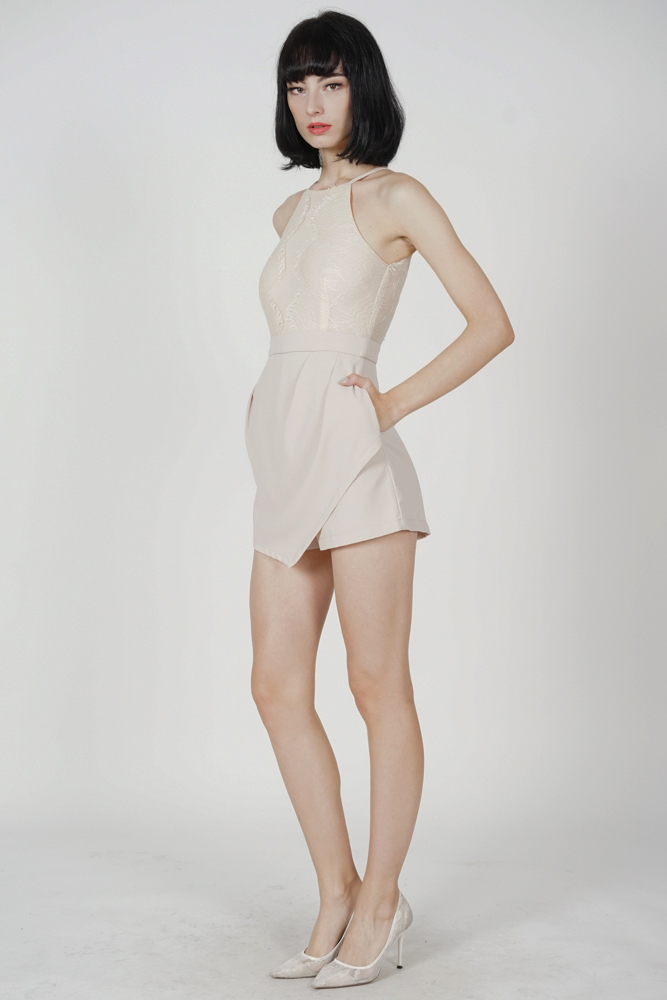 Kevri Lace-Trimmed Romper in Cream