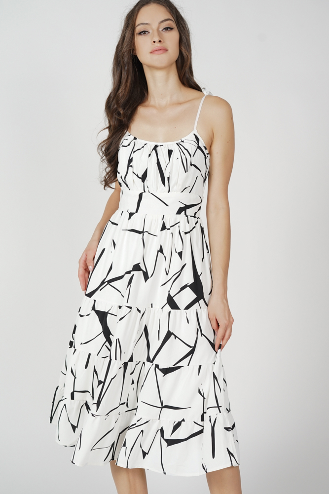 Armo Gathered Dress in White - Arriving Soon