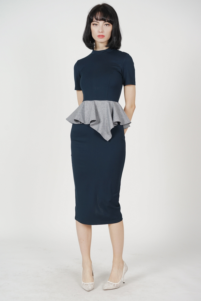 Jadea Ruffled Peplum Dress in Navy
