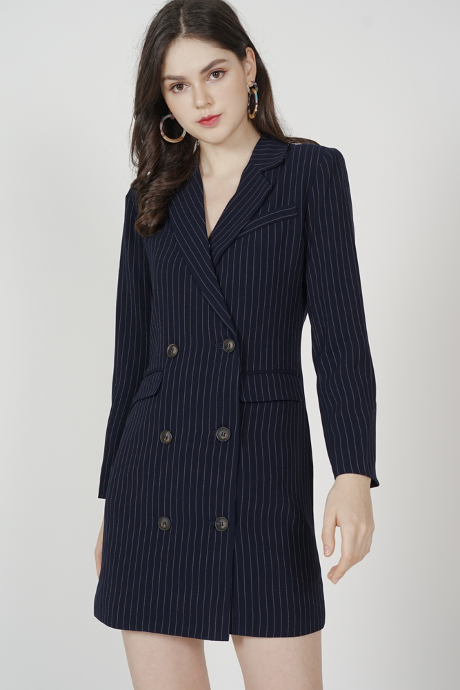 Tova Blazer Dress in Navy Stripes - Arriving Soon