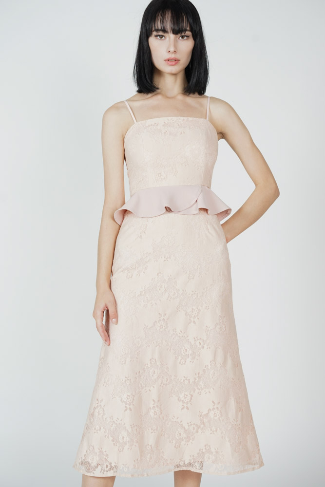 Dawnie Ruffled Dress in Pink