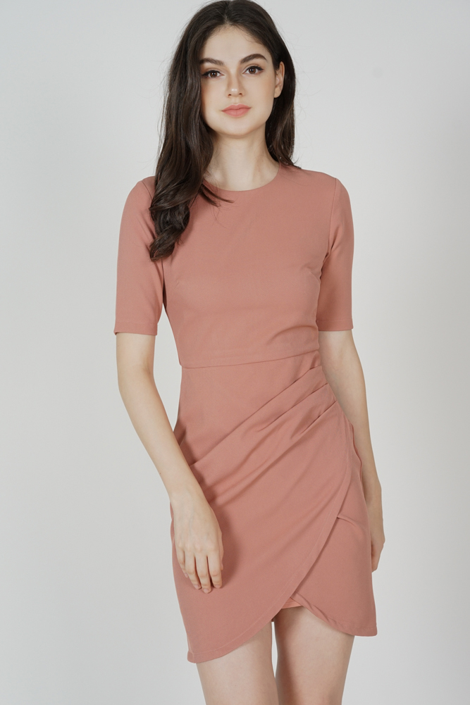 Farica Side Drape Dress in Pink