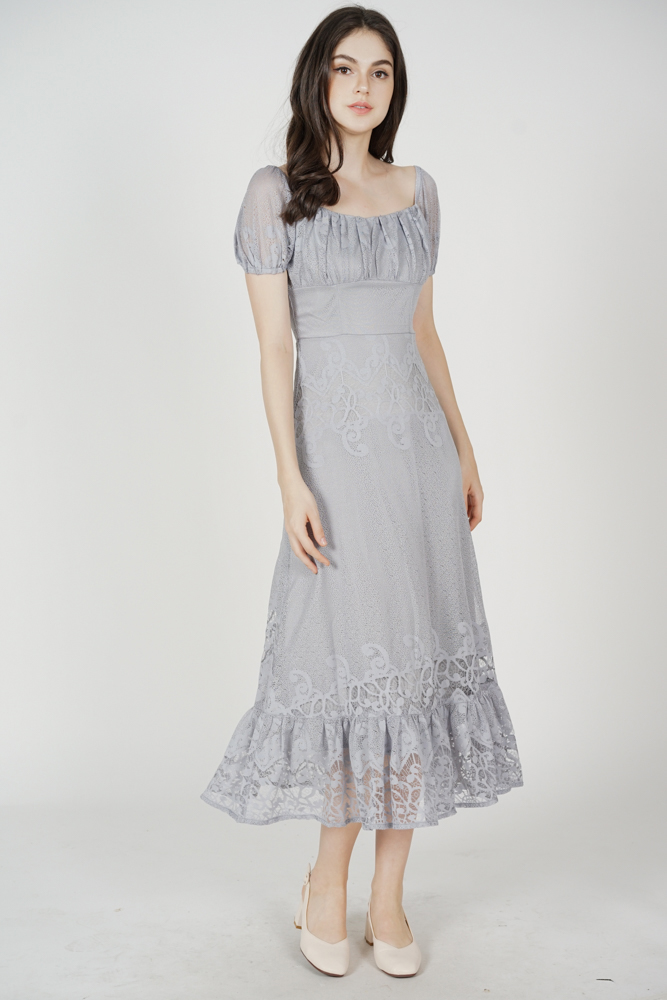 Nahele Lace Dress in Ash Blue