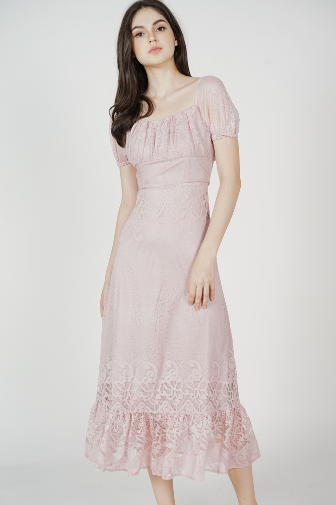 Nahele Lace Dress in Pink - Arriving Soon