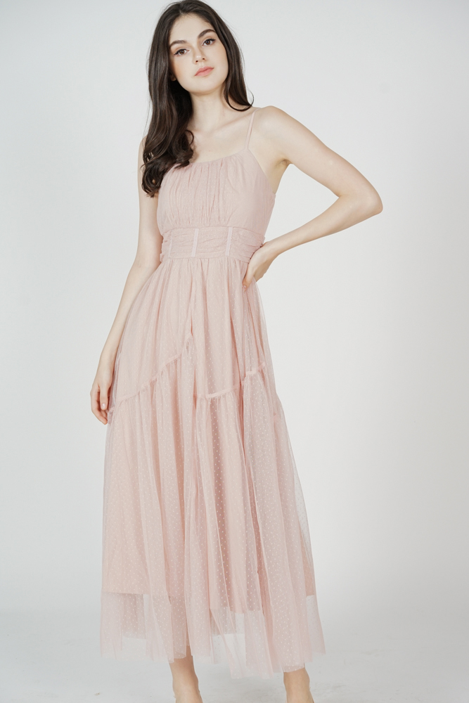 Elenore Gathered Dress in Pink