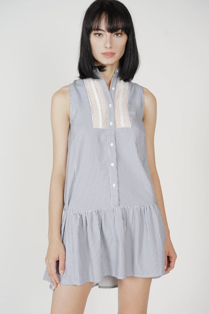 Rashmi Buttoned Dress in Blue Stripes