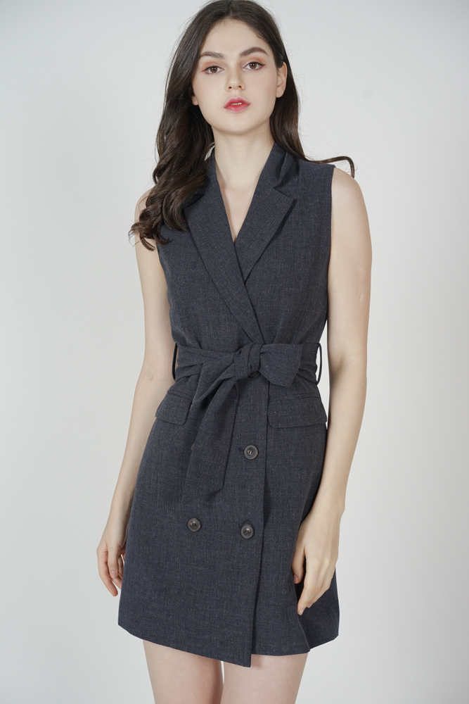 Zada Buttoned Vest Dress in Dark Grey - Arriving Soon