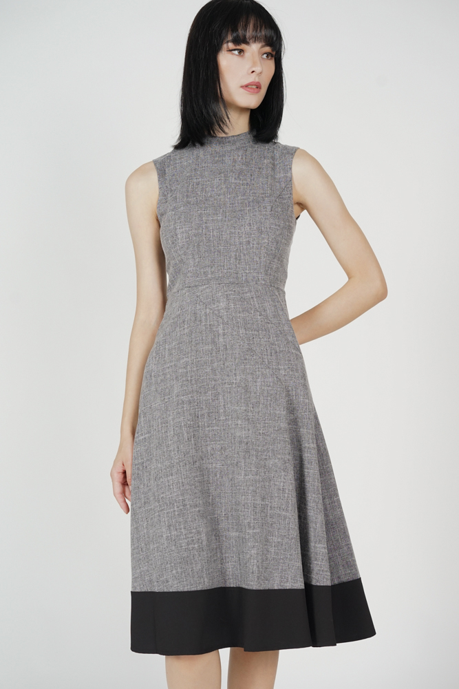 Houston Flared Dress in Dark Grey