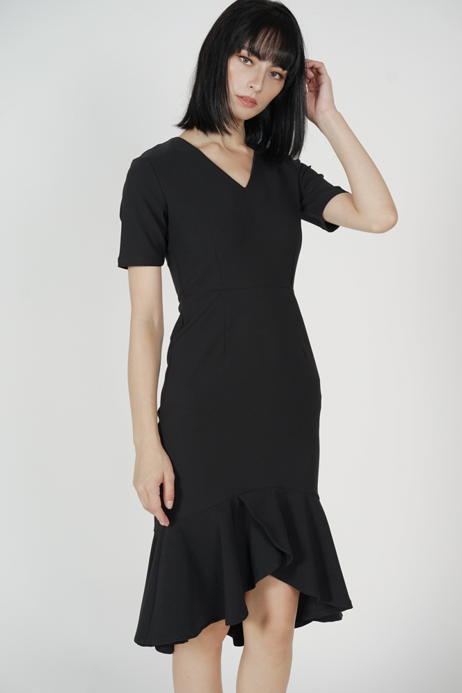 Eban Ruffled Hem Dress in Black - Arriving Soon