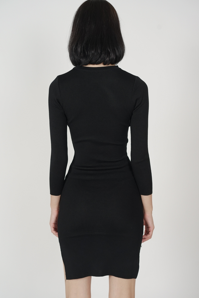 Brinley Sleeved Dress in Black - Arriving Soon