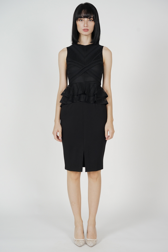 Kamil Criss-Cross Ruffled Dress in Black