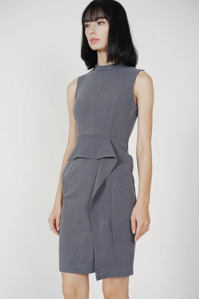 Borya Ruffled Dress in Grey - Arriving Soon
