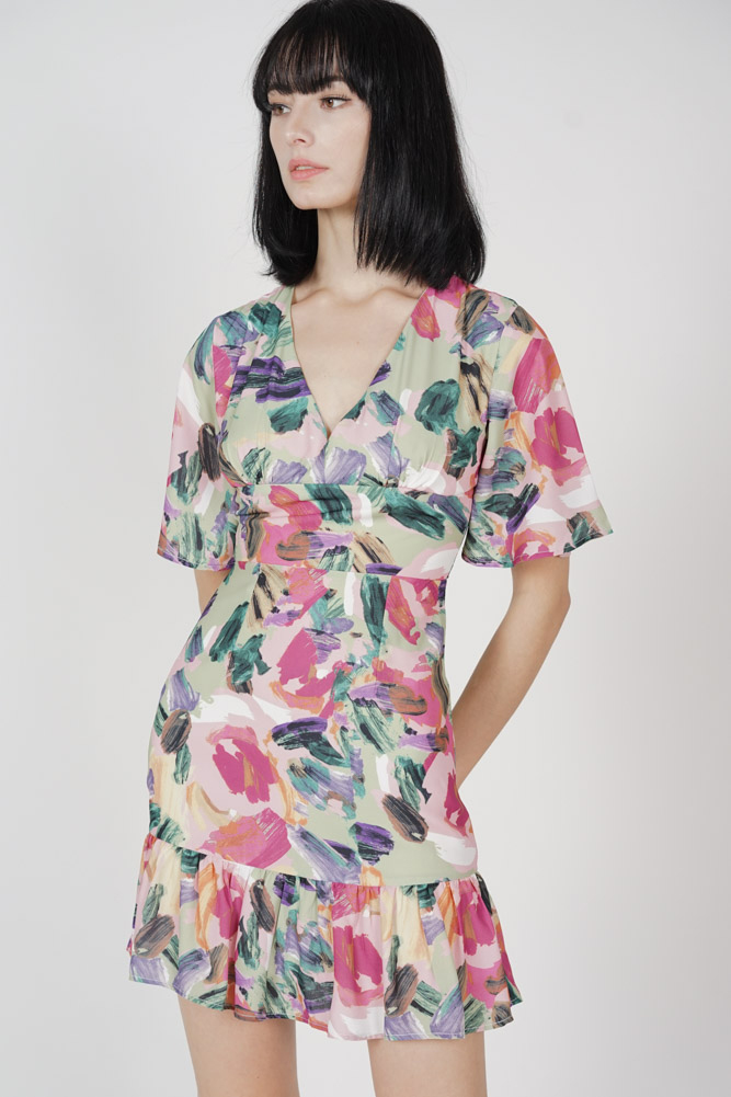Sacha Ruffled-Hem Dress in Multi - Arriving Soon