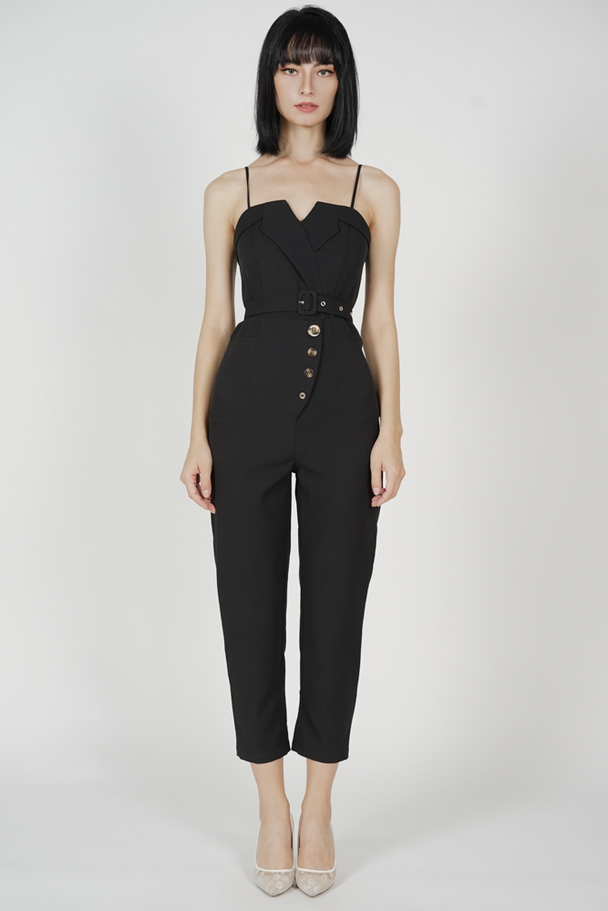 Diadra Buttoned Jumpsuit in Black - Arriving Soon
