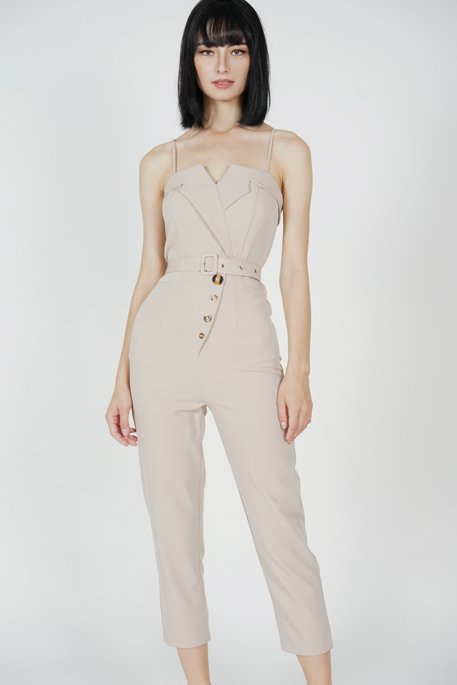 Diadra Buttoned Jumpsuit in Nude - Arriving Soon