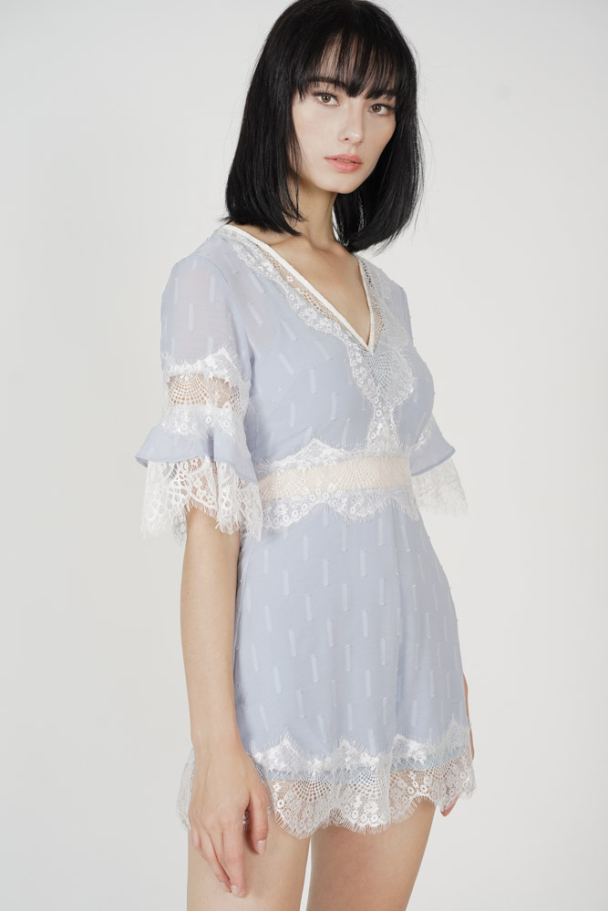 Torfa Lace Romper in Ash Blue - Arriving Soon
