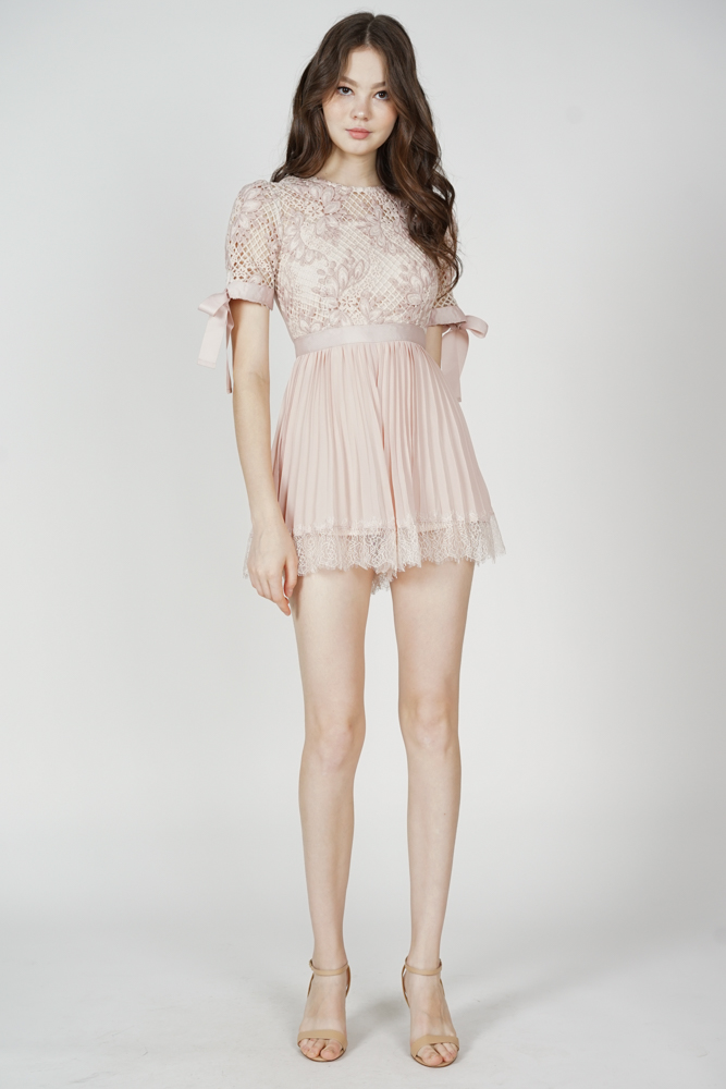Ruina Pleated Lace Romper in Pink