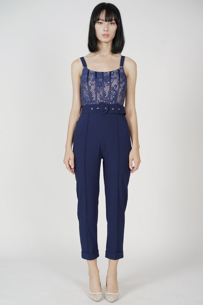 Noah Lace Jumpsuit in Midnight - Arriving Soon