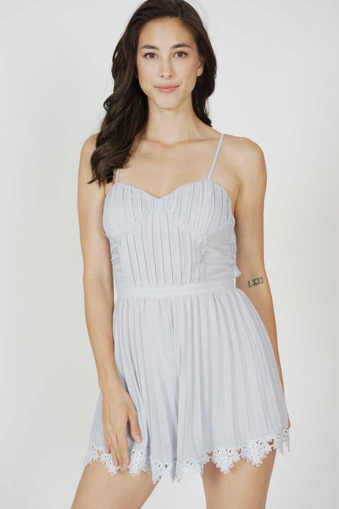 Faegan Pleated Romper in Ash Blue