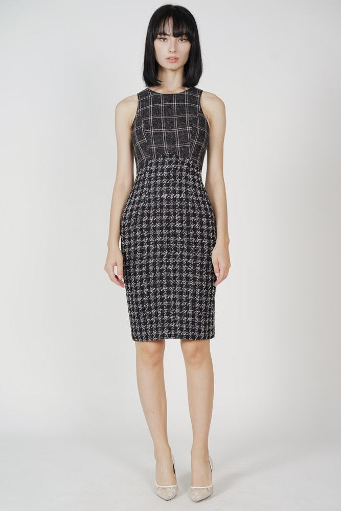 Kydie Tweed Dress in Black - Arriving Soon