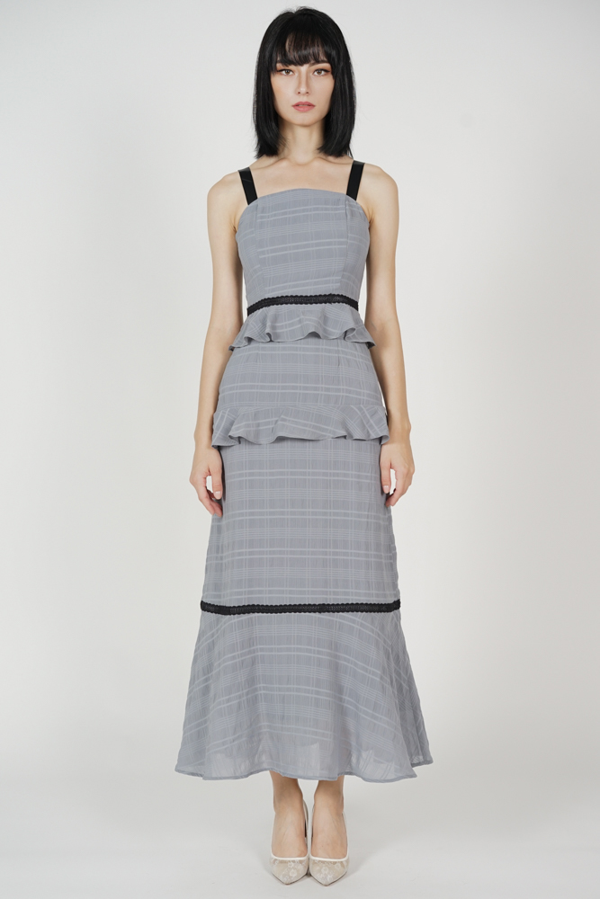 Sarelia Ruffled Dress in Grey - Arriving Soon