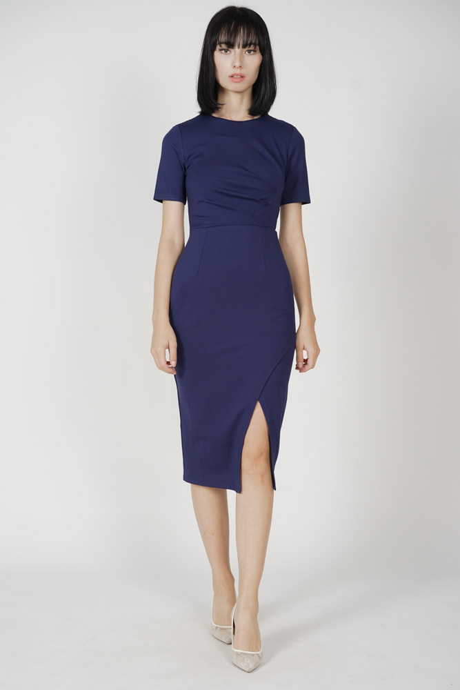 Elson Cutout Slit Dress in Navy - Arriving Soon