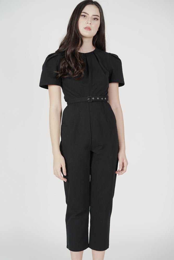Yunia Pleated Jumpsuit in Black - Arriving Soon