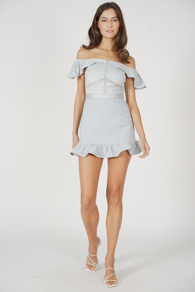 Ternia Lace Ruffled-Hem Skorts Romper in Ash Blue - Arriving Soon