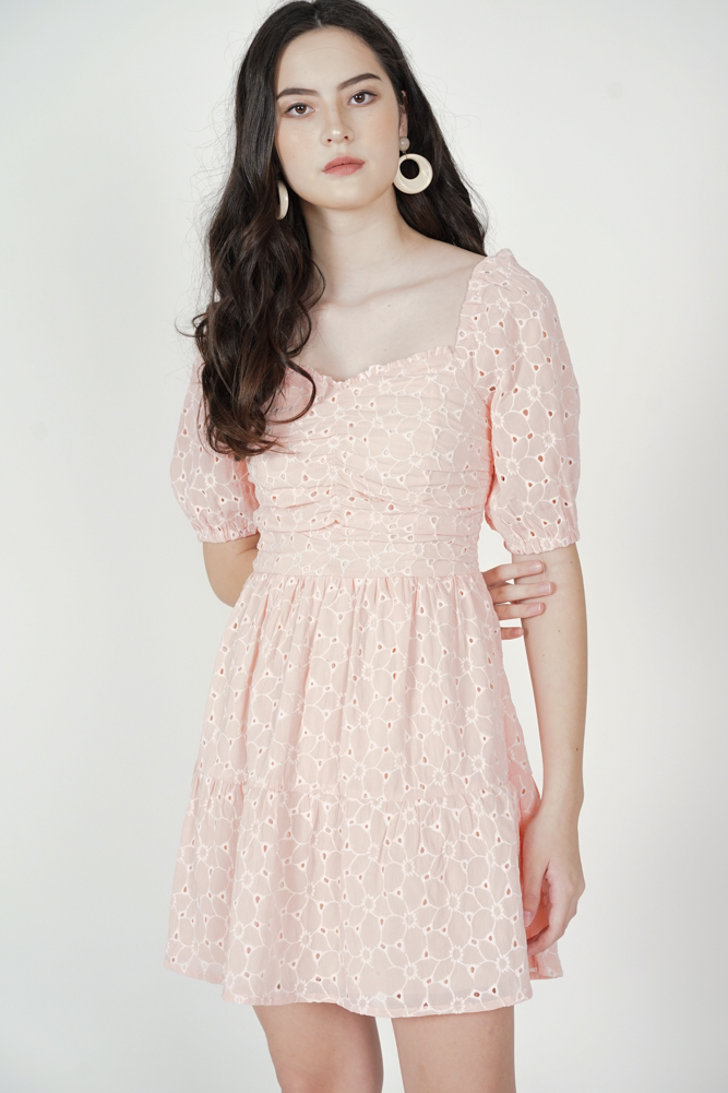Mija Gathered Dress in Pink - Arriving Soon