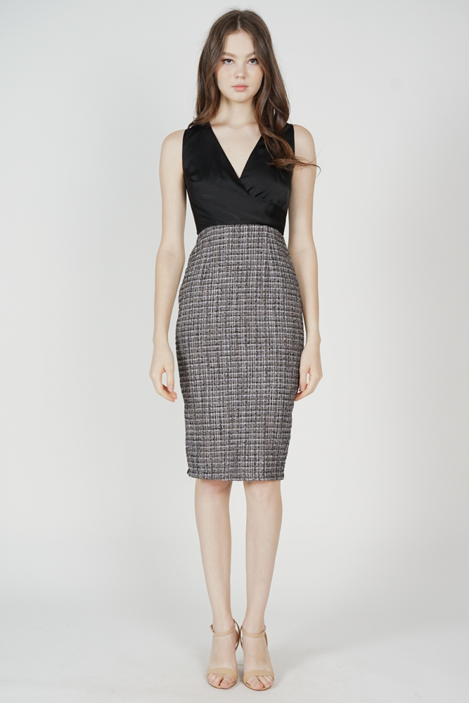Persia Contrast Tweed Dress in Black - Arriving Soon