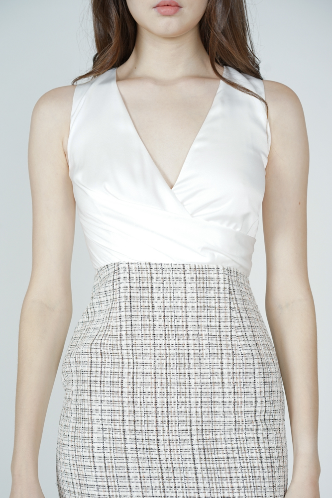 Persia Contrast Tweed Dress in White