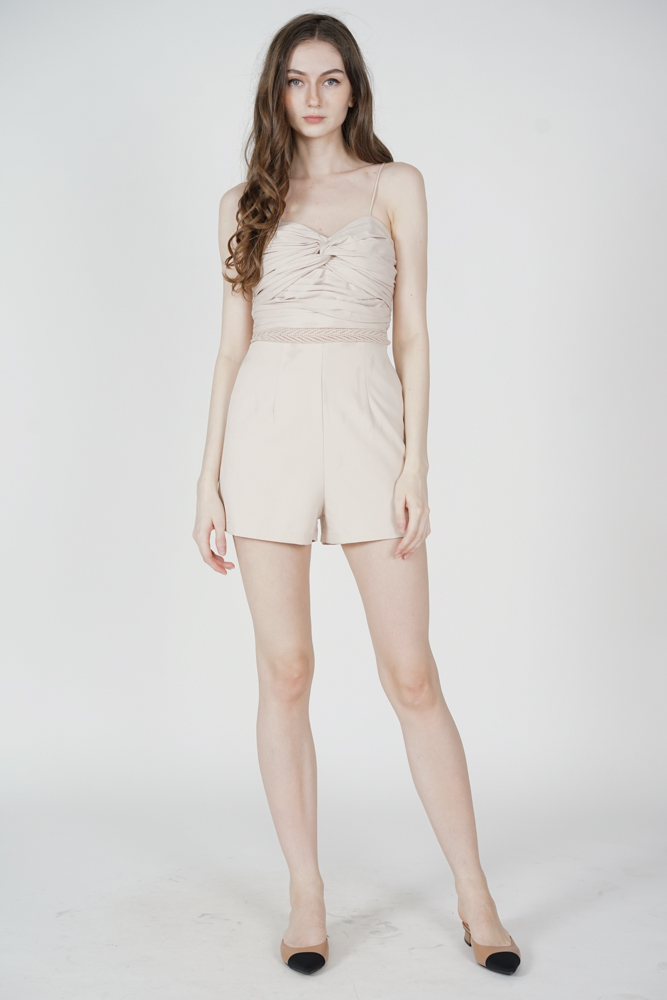 Lorgia Ruched Romper in Cream - Arriving Soon