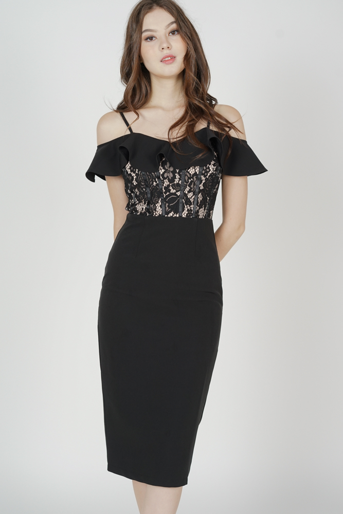 Hethalia Ruffled Lace Dress in Black - Arriving Soon
